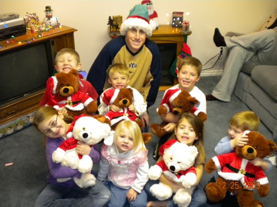 Johnny with some of his nephews and nieces with their Christmas Bears he gave them!