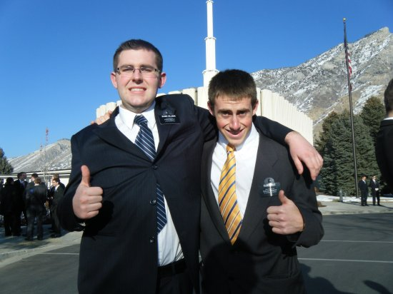Elder Hillman (off to Chile - concepcion Mission) & Elder Hale - Provo Temple Grounds