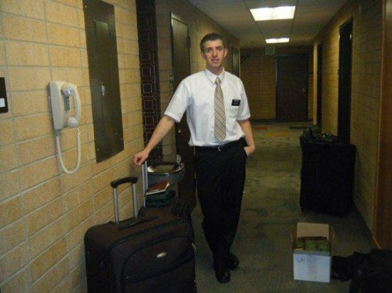 Ready to go!!!! Elder Dahlin in the hall way!