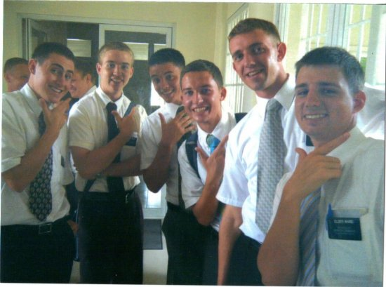 "Together again... the MTC Group .. ""Hey look, It's a group of Gwapo's. This was the transfer I got Elder Apin."