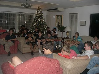 New Years Eve in the Missioon Home Watching the Ultimate Gift (Hale sitting to the right on the couch in front of the tree)