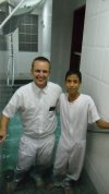 Tyler and Emmanuel Castano.....his first Baptism.
