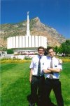 Elder Bowler and I in front of the Provo Temple.