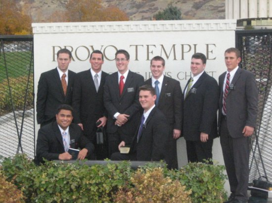 Nathan and District in front of Provo Temple