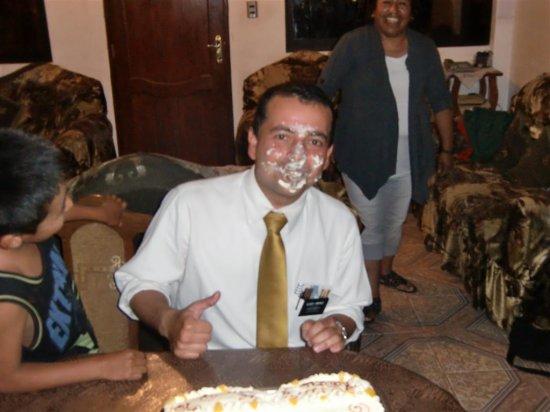 Elder Jimenez' Birthday Cake in the Face!